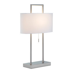 """Adesso Inc. - Sullivan Table Lamp - This satin steel table lamp sports pure white poly/cotton oval shade. Two poles extend from the flat rectangular base; within the shade a cross-bar supporting the socket connects the poles, which then square off above the shade. Has a stick-accented steel pull-chain switch, The back of this lamp's base has the added feature of two AC outlets - great for charging devices on one's nightstand or end table. 60 Watt incandescent or 13 Watt CFL bulb. 26.5"""" Height. Base: 11"""" Width, 5.5"""" Depth. Shade: 8.25"""" Height, 17"""" Width, 8"""" Depth."""