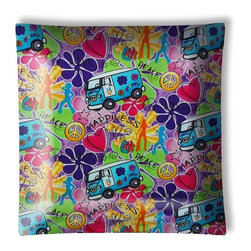 """Peace VW Van Flower Power Ceiling Light - 12"""" square semi flushmount ceiling lamp with designer finish. Includes complete installation instructions and complete light fixture. Wipes clean with a damp cloth. Uses 2-60 watt bulbs (not included) and is made with eco-friendly/non-toxic products. This is not a licensed product, but is made with fully licensed products."""
