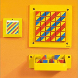 """HaPe - Beleduc Patterns Wall Panel - Get kids thinking patterns and colors with this handy skill builder. Features: -Select one of the 10 patterns in the pattern box and use the 36 blocks to match the design. -Separate wall cubby holds blocks until they are placed. -Assembly required. -Blocks are 1.75"""" cube."""