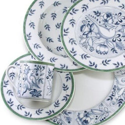 Villeroy & Boch - Cordoba 9-Inch Rim Soup Bowl - Blue and white dinnerware featuring a bird on a berry-laden twig will surely give you something to sing about. The fetching porcelain dinnerware is further complemented by a gentle green border.