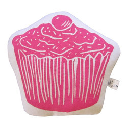 "artgoodies - Cupcake Stuffie Mini Pillow - Each stuffie mini pillow has been hand printed with an original linocut block print by Lisa Price, backed with coordinating vintage fabric, and filled with polyfil. Perfect for play, a gift basket, or hanging out in your home or office! Measures 5.5"" tall x 5.5"" wide."