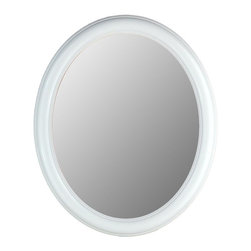 Hitchcock Butterfield - Modern Oval Decorative Wall Mirror with White - Choose Size: 28 in. x 40 in.Introduce modern focus into your preferred living space. It's easy with this decorative wall mirror. Wood frame features a clean, floral white finish - the perfect offset to its high quality beveled plate glass. Choose a size to complement your surroundings. Includes four hooks for vertical or horizontal display. Made in the USA. Floral White finish. 24 in. x 28 in.. 26 in. x 32 in.. 28 in. x 40 in.