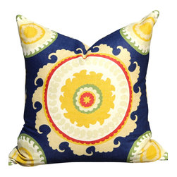 PillowFever - Cotton Pillow Cover with Suzani Print in Yellow and Blue Colors - Pillow insert is not included!