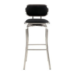 Chintaly Quinn Modern Swivel Bar Stool - Here to fit your style, the Chintaly Quinn Modern Swivel Bar Stool comes in either black or white leather upholstery. This contemporary stool has a curving stainless steel frame with a beautiful brushed finish. More than comfortable, it swivels smoothly like a dream.About Chintaly ImportsBased in Farmingdale, New York, Chintaly Imports has been supplying the furniture industry with quality products since 1997. From its humble beginning with a small assortment of casual dining tables and chairs, Chintaly Imports has grown to become a full-range supplier of curios, computer desks, accent pieces, occasional table, barstools, pub sets, upholstery groups and bedroom sets. This assortment of products includes many high-styled contemporary and traditionally-styled items. Chintaly Imports takes pride in the fact that many of its products offer the innovative look, style, and quality which are offered with other suppliers at much higher prices. Currently, Chintaly Imports products appeal to a broad customer base which encompasses many single store operations along with numerous top 100 dealers. Chintaly Imports showrooms are located in High Point, North Carolina and Las Vegas, Nevada.