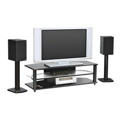 Plateau CRX-2V 54 Inch TV Stand in Black - The Plateau CRX-2V 54-Inch TV Stand in Black is the perfect place to display and organize your entertainment system. This 3-shelf TV stand has an upper and lower shelf of black oak and a middle shelf of safety glass with polished edges. The shelves sit upon on a welded frame of heavy gauge steel tube finished in a virtually indestructible black baked powder-coat finish. This TV Stand holds up to a 56-inch flat panel TV and has lots of room left over for all your audio equipment.About Plateau CorporationPlateau Corporation utilizes the finest materials to provide you with state of the art audio and video home theater furniture systems. Entertainment centers created by Plateau Corporation are a fusion of innovative engineering and contemporary design. Their product list includes entertainment centers, media storage, TV armoires, and TV stands that are all are easy to assemble, incredibly durable, and specially made to highlight your audio/video system. Their unique entertainment centers can grow as your system grows.