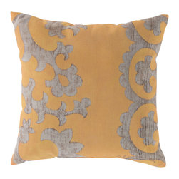 """Surya - Square Decorative Pillow RG-024 - 20"""" x 20"""" - Update your space with sweet elegance with this impeccably designed pillow! Featuring a smooth scroll design in bold beige painted across an exquisite yellow backdrop, this piece defines sophistication and class. This pillow contains a Virgin Poly Styrene Bead fill providing a reliable and affordable solution to updating your indoor or outdoor decor."""