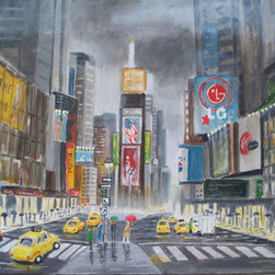 Nostaligic Look At Times Square  (Original) by Patricia Ann Rizzo - Through my years of living in New Jersey, we traveled many times to visit and Aunt and Uncle in New York.  I found Times Square, even back then, to be a fabulously exciting place!  The lights, the hustle and bustle of shoppers and the endless stream of yellow cabs.  Here, I've captured it on a rainy day.  No amount of rain or gray skies can dampen the lights or the excitement.