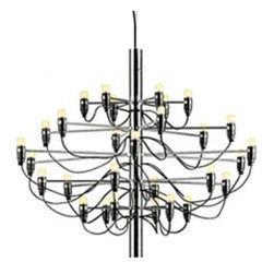 Flos - Gino Sarfatti chandelier 2097 by Flos - The 2097 suspension fixture is designed by Gino Sarfatti in 1958. This stunning suspension fixture provides diffused light. The steel central structure is with brass arms and both are available either chromium-plated or gilded. The ceiling fitting and rose consists of steel and this beautiful suspension lamp has a suspension cable.