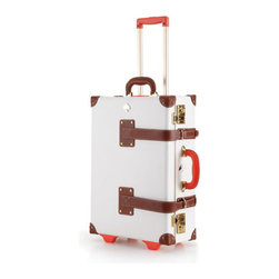 """kate spade new york - kate spade new york Kate Spade Things We Love Carry-On - Colorful handles are the giveaway; a brightly patterned interior is the payoff. You're the winner with vintage-style luggage with a modern twist. Made of fiberboard with leather straps. Detachable wash bag. Carry-on case, approximately 14.5""""W x 7""""D x..."""