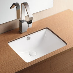 Caracalla - Rectangular White Ceramic Undermount Bathroom Sink - Rectangular sink for the bathroom or powder room. Stylish and sleek bathroom sink has no faucet holes. Designed by Caracalla in Italy as an undermounted ceramic sink with overflow. Installs under vanity. Made of porcelain. No faucet holes. With overflow. Contemporary design. By Caracalla. Standard drain size of 1.25 inches.