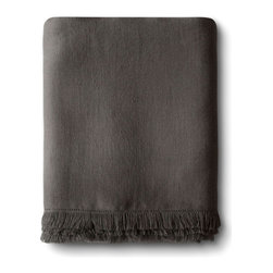 The Linen Works - Fringe Linen Tablecloth - choice of three colors, Charcoal - The Fringe tablelcloth is made from our heavier Motte linen which has substantial texture and a fringe border.  Available in Chalk, Pale Grey and Charcoal.  Try layering contrasting colors for a striking effect.