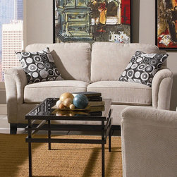 Carver Love Seat with Exposed Wood Base - Carver Love Seat with Exposed Wood Base by Coaster