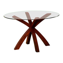 Homelegance - Round Glass Dinette Table with Wood Base in Cherry Finish - An X-shaped wood pedestal base in a rich cherry finish brings a touch of elegance to this modern dinette table, a stylish and contemporary piece perfect for an eat-in kitchen or a breakfast nook. The table has a glass top and can be paired with coordinating chairs, which are available separately.