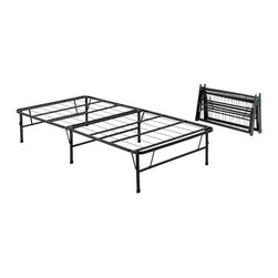 Pragma - Quad-Fold Folding Metal Bed Frame (Full) - Choose Size: Full. Always be prepared for overnight guests with this folding metal bed frame, a durable, versatile frame that does not require a box spring. When in use, the frame has ample underbed storage, and can be put up or taken down in seconds. It is available in your choice of sizes. Strong yet lightweight design. Bases do not require box spring. Maximum User Weight Twin: 1200 lbs.. Maximum User Weight King: 2400 lbs.. Made of metal. No assembly required. 3 Year Manufacturer WarrantyTwin Size Dimensions. Open: 75 in L x 39 in. W x 14 in. H. Folded: 21.75 in. L x 39.5 in. W x 5.25 in. HTwin XL Size Dimensions. Open: 80 in L x 38 in. W x 14 in. H. Folded: 23 in. L x 39.5 in. W x 5.25 in. H. Weight: 36 lbs.Full Size Dimensions. Open: 75 in L x 54 in. W x 14 in. H. Folded: 21.75 in. L x 27.25 in. W x 10.75 in. HQueen Size Dimensions. Open: 80 in L x 60 in. W x 14 in. H. Folded: 23 in. L x 30.25 in. W x 10.75 in. H. Weight: 36.8 lbs.King Size Dimensions. Open: 80 in L x 76 in. W x 14 in. H. Folded: 23 in. L x 38.25 in. W x 10.75 in. HThe Pragma Bed frame is engineered to provide maximum comfort during your most relaxing hours of the day and versatile enough to be folded in under 15 seconds. They can then be stored in a bed or closet since a twin-sized Pragma Bed frame only requires 39.5 in. x 21.75 in. x 5.25 in. of storage space. The Pragma Bed base provides you with more space than many other beds out there. It sits 14 in. off the ground creating 21.875 cubic feet of storage space per twin bed frame. Think of what you can do with all that additional space.