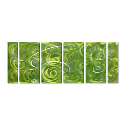 Pure Art - Verdant Pinwheels Abstract Art Set of 6 - Spirals of color, light and contrast bring high energy and dynamism to the large, six panel wall art. The use of shades of green keep it cool and friendly and the abstract swirling pattern adds depth and a lighthearted feeling. Spirals of silvery white dotted with dashed lines capture the eye and direct it around the artwork.Made with top grade aluminum material and handcrafted with the use of special colors, it is a very appealing piece that sticks out with its genuine glow. Easy to hang and clean.