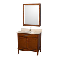 "Wyndham Collection - Hatton 36"" Light Chestnut Single Vanity w/ Ivory Marble Top & Square Sink - Bring a feeling of texture and depth to your bath with the gorgeous Hatton vanity series - hand finished in warm shades of Dark or Light Chestnut, with brushed chrome or optional antique bronze accents. A contemporary classic for the most discerning of customers. Available in multiple sizes and finishes."