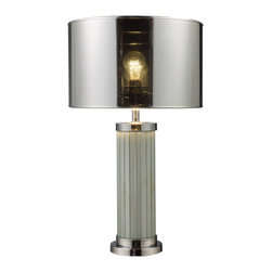 """Dimond - Dimond D1596 Contemporary Table Lamp - Mont Alto Chrome Table Lamp and mirror with silver mylar shade.   The lamp measures 14""""W x 24""""H with shade measurements of 14""""W x  9""""H. The lamp uses a 150 Watt medium 3 way bulb with an on/off switch on the socket."""