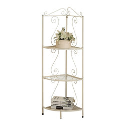 Monarch Specialties - Monarch Specialties 2102 Corner Display Etagere in White Metal - This elegant corner display etagere offers a distinctive storage solution for any room in your home. Great for tight spaces because it fits right into the corner of your room. Featuring a scroll motif in a white metal finish provides four shelves that offer an abundance of storage space for picture frames, plants, candles and any other collectibles.