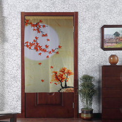 "Japanese Noren Maple Full Moon Door Way Curtain D3064 - Japanese curtains, or ""Noren"", are ideal to create good feng Shui environments. Conveniently split in the middle and easy to hang on a curtain pole, they can be used as curtains or room dividers. They are a great addition to create good feng shui rooms, and obviously a great idea for open plan houses."