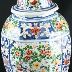 Boch - Consigned Antique Folk Art Delftware Ginger Jar Vase - Product Details