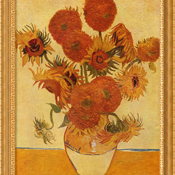 Amanti Art - Sunflowers, 1888 Framed Print by Vincent Van Gogh - In a letter to his brother Theo, back in 1889, Van Gogh spoke of sunflowers as the still life subject he would make his own. His devotion paid off as sunflowers became as identified with Van Gogh's name as water lilies with Monet.