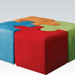 Puzzle Ottoman | Vala Multi Color Youth Ottoman - This Multi Color Ottoman available in blue, orange, red and green finish that is made of wood frame, foam and fabric. It will be a pleasure to collect puzzle, as well as the creative element of the decor.