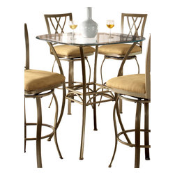 Hillsdale Furniture - Hillsdale Brookside 36x36 Bar Bistro Table - The Hillsdale Brookside 36X36 bar bistro table is designed to add elegance to any kitchen, dining room, or bar space. One will always feel the true ambiance of an upscale dining room while sitting at this beautiful table. It is made out of metal and covered with a beautiful brown powder coat finish. A thirty-six inch glass top accentuates this-piece that belongs to the Brookside collection. Four Marin bar stools will be the perfect compliment to this unique table. Each Marin bar stool has a fine lattice backed design.