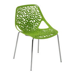 "Eurostyle - Lovie Side Chair (Set Of 2)-Green - There will be a buzz swirling in your space about the exciting swirl design featured in this visually arresting chair. You'll hear the ""ooh's and wow's,"" then witness the admiration bestowed by mesmerized guests."