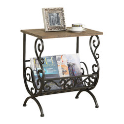 Monarch Specialties - Monarch Specialties 3315 Magazine Table in Bronze Metal with Brown Veneer - This elegant magazine table is both stylish and multi-functional. It features an intricate weaved metal rack with curved bars to hold your magazines and a thick cherry-look wood top where you can place your coffee cup as you read the latest novel. With its sturdy gold metal base, this piece is one of a kind.