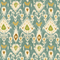 "Ballard Designs - Balboa Ikat Fabric By The Yard - Content: 100% Cotton. Repeat: Non-railroaded fabric with 25"" repeat. Care: Dry clean. Width: 54"" wide. Mediterranean Ikat pattern of turquoise, camel, sand and mint printed on a thick basket weave of 100% cotton . Repeat: Non-railroaded fabric with 25"" repeat .  . Width: 54"" wide . Because fabrics are available in whole-yard increments only, please round your yardage up to the next whole number if your project calls for fractions of a yard. To order fabric for Ballard Customer's-Own-Material (COM) items, please refer to the order instructions provided for each product.Ballard offers free fabric swatches: $5.95 Shipping and Processing, ten swatch maximum. Sorry, cut fabric is non-returnable."