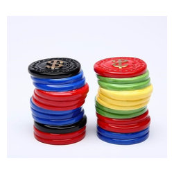 CG - Two Piece Set of Assorted Colored Poker Chip Salt and Pepper Shakers - This gorgeous Two Piece Set of Assorted Colored Poker Chip Salt and Pepper Shakers has the finest details and highest quality you will find anywhere! Two Piece Set of Assorted Colored Poker Chip Salt and Pepper Shakers is truly remarkable.