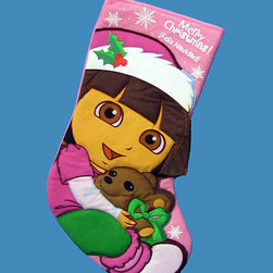 Dora the Explorer - Pink Dora Appliqué Stocking - Adorn the holiday mantel with this cheerful character stocking, ready to be stuffed with toys and treats.   4.5'' W x 13'' H x 0.5'' D 75% polyester / 25% acrylic Imported