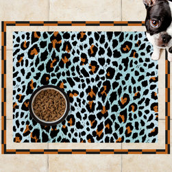Sniff It Out Designer Pet Mats - Animal Skin Teal Pet Food Mat, 26 X 20.5 - Premium-quality clear vinyl mats uniquely designed to resemble beautiful art painted directly onto your floor. The smoothness of the vinyl allows for easy cleanup and lays perfectly flat. Sniff It Out Pet Mats make great gifts and will be a conversation piece that your friends and family won't stop talking about. Made in the USA.
