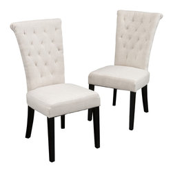 Great Deal Furniture - Paulina Dining Chair (Set of 2), Beige Fabric - The style and sophistication of the Paulina tall-backed, contemporary dining chair will bring your dining room design into uncharted territory. If you're looking for a new world of dining room décor, set your sights on the Paulina dining chair for a refreshing blast of style.