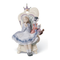 """Lladro Porcelain - Lladro Alice In Wonderland Figurine - Plus One Year Accidental Breakage Replacem - """" Based in the main character of the Lewis Carroll novel, The Lladro Alice In Wonderland 01008350 is sitting in a princess-like fantasy armchair next to the White Rabbit. The story is told with multiple details on the Lladro Figurine: Alice wears a candid pale blue dress with apron and hairband, the Rabbit wears as an adult, the crown and hearts of the Queen at the backrest.  As a symbol of fantasy and dreams, Alice chases after the White Rabbit, who also appears in this piece. Both sit on the Queen of Hearts throne in anticipation of the end of a tale that has captivated the mind and hearts of many a generations. These adventures are a metaphor for children's struggle to adapt to the strange rules and behaviors of adults. Hand Made In Valencia Spain - Sculpted By: Francisco Polope - 2nd In The Classic Children's Tales Collection. - Included with this sculpture is replacement insurance against accidental breakage. The replacement insurance is valid for one year from the date of purchase and covers 100% of the cost to replace this sculpture (shipping not included). However once the sculpture retires or is no longer being made, the breakage coverage ends as the piece can no longer be replaced. """""""