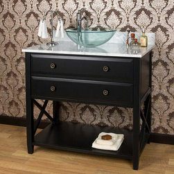 "36"" Clinton Vessel Sink Vanity - Great for both traditional and modern homes alike, this 36"" Clinton vanity features a simplistic design with ample storage. Pair with a vessel sink and tall vessel faucet for a custom look."