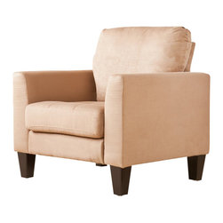 Southern Enterprises - Southern Enterprises Carlton Stationary Chair in Mocha Microfiber - Southern Enterprises - Club Chairs - UP4661 - Don't sit back and let the chance of owning this gorgeous living room chair pass you by. Take a moment to enjoy the ultimate in comfort and relaxation with this outstanding chair.This chair features a luscious mocha microfiber that you will sink right into. The squared arms offer clean design and the beautiful toss pillows serve as the perfect accent.This chair is easy to assemble making it the perfect choice for any home. In approximately five minutes you can assemble this chair without any tools or formal training. It features an easy to assemble design utilizing connecting brackets and allows you to simply click each piece into place. The ease of assembly doesn't end once you assemble this chair - disassembling and reassembling is a breeze for stress-free moving or rearranging.This chair complements homes with transitional to modern decor. Add this chair to your living room or family room today!Please note: Our photos are as accurate as possible but color discrepancies may occur between the product and your monitor. The handcrafted touch of artisan skill also creates variations in color size and design; slight differences should be expected.