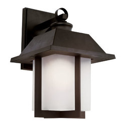 Trans Globe Lighting - The Standard Black Pagoda Cap 14-Inch Wall Mount with Rectangle White Frosted Gl - - East meets West with this garden landscape and entry collection. Add all matching accent lighting for the whole home. Pair with ledge stone sided porch areas and homes for stunning ambience.  - 1 Light Wall Light Outdoor  - Weather resistant cast aluminum  - Lantern ring is welded to wall bracket to prevent breakage from wind  - Open at bottom for directional light over porch areas  - Asian inspired complete landscape lantern collection  - Material; Cast Aluminum  - Bulbs not included Trans Globe Lighting - 40112 BK