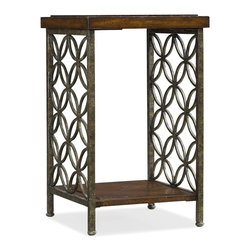 Hooker Furniture - Square Accent Table - Crafted from gmelina wood and iron, this item is sure to make a statement in your living space.