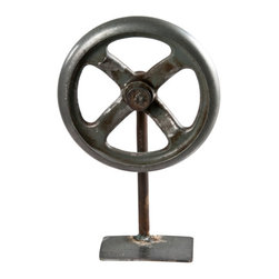 Salvatecture Studio - Vintage Rustic Wheel On Iron Stand 5 - There's no irony in this decorative vintage wheel, just iron. Whether you are reaching for rustic or in need of industrial, this antique piece is sure to please.