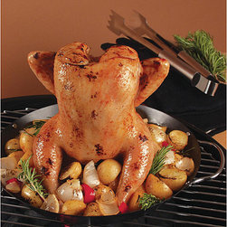 None - Nonstick Vertical Poultry Roasting Wok - A nonstick vertical poultry roasting wok makes grilling whole chicken a snap This 12-inch-diameter wok leaves plenty of room to roast veggies With this wok, you fill the cylinder with beer, wine, or your favorite marinade and cook