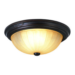 "Trans Globe Lighting - Trans Globe Lighting 21052 Three Light Garland 15"" Flush Mount Ceiling Fixture f - Trans Globe Lighting 21052 New Century Three Light Garland 15"" Flush Mount Ceiling FixtureAn oil rubbed bronze finish combined with antiqued amber scavo glass and Victorian style decorative ribbon iron work brings home a traditional style. Whether as an accent piece or the main light source in the hallway, this flush mount ceiling fixture offers classic victorian elegance and value.Victorian style decorative ribbon iron work brings home a traditional style. With the oil rubbed bronze finish and curved lines adds the sophisticated touch. Amber scavo glass shades adds the finishing touch on a charming series.Features:"