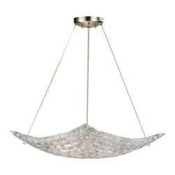 Fine Art Lamps - Constructivism Pendant, 841240ST - Put some sparkle into your favorite room with this superb semi-flush fixture. The basket is formed by individually cast pieces of glass fused in a cobblestone pattern and will transform light to dazzling effect.