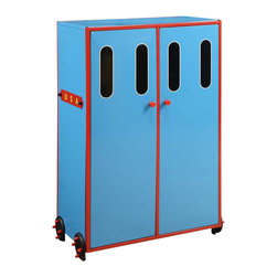 Adarn Inc - Youth Colorful Red Blue Black Metal Wardrobe with 2-Door & Wheels - Features:
