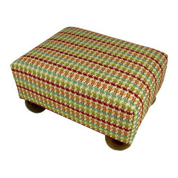 Gatsby Footstool - Upholstered footstool with wooden bun feet and polyurethane foam fill.  Measures 15x12x7.  Spot Clean only.  Handcrafted in USA.