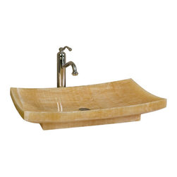 Rectangular Polished Honey Onyx Platform Vessel Sink - This Honey Onyx vessel sink features a raised rectangular design and smooth, polished finish. Pair with a wall-mount faucet or vessel filler to complete the look.