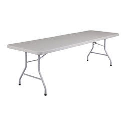 National Public Seating - National Public Seating 96 Inch Rectangular Blow Mold Folding Table in Gray - Lightweight and easy to set up, the National Public Seating Plastic Top Folding Table is perfect for school banquets and cafeterias. The plastic top is weather-resistant, so the table can be used inside or outdoors. 17-gauge steel frame supports up to 1,000 pounds of equally distributed weight. Legs fold into tabletop so tables can be stacked or stored flush against one another.