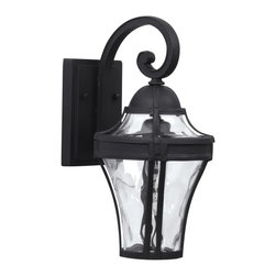 Exteriors - Exteriors Parish Traditional Outdoor Wall Sconce - Small X-50-4024Z - Create an inviting atmosphere when you decorate with this Small Craftmade Parish Traditional Outdoor Wall Sconce once you see it hanging on your wall. It features a frame with a beautiful matte black finish, and panels of clear, hammered glass. It's a wonderful, three-light, 14.25-inch-tall piece that will effortlessly enhance the look of any space.