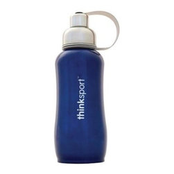 Thinksport Stainless Steel Sports Bottle - Blue - 25 Oz - Built to fit your active lifestyle, thinksport Stainless Steel Insulated Sports Bottles provide an alternative to bottles containing Bisphenol-A (BPA). thinksport Stainless Steel Insulated Sports Bottles are built tough and super insulated to keep the contents cold or hot for hours. This insulated bottle is double-walled and vacuum-sealed stainless steel construction. When you fill your insulated bottle you won't feel the temperature of the contents; now you won't ever have to grab a blazing hot bottle or a freezing cold one either. You can fill our bottle with ice, your favorite drink and enjoy a cold drink without the bottle sweating all over your gym bag, backpack, or desk. thinksport bottles elegant design features a wide mouth opening (for ease of filling and cleaning) and a smaller polypropylene spout (for convenient drinking). thinksport bottles also feature a removable interior mesh filter that keeps ice from blocking the drinking spout and allows users to conveniently brew loose leaf tea on the go or make campfire coffee. The thinksport insulated bottle is a high-quality insulated sport bottle for about the same price as the other guys  basic single-walled bottles. thinksport bottles are made of 18/8 medical-grade 304 stainless steel and do not have any type of potential harmful liner. thinksport products address the growing concern of toxic chemicals leaching from consumer products. All thinksport products are free of bisphenol-A (BPA), lead, PVC, phthalates, melamine, nitrosamines, and biologically toxic chemicals. How do you care for my thinksport bottle? thinksport recommends hand washing your bottles, however bottles are dishwasher safe, be sure to remove the cap and strap first. thinksport Stainless Steel Insulated Sports Bottles are great for the beach, tailgating, bicycling, camping, gym, and for keeping your drinks hot or cold at the office. Size: 25 oz, Color: Blue