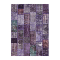"""Pre-owned Purple & Mint Overdyed Turkish Patchwork Carpet - Traditional Turkish patterns from an assortment of vintage pieces mix to make this hand made, naturally distressed vintage rug. Full cotton backing and decorative blanket stitch edging.    Remnants of vintage wool on a cotton warp, made entirely by hand in the '60's through '80's when Turkish women still included weaving in their daily homemaking chores. Employing the sturdy double knot technique unique to Turkish rugs, multicolor floral and medallion motifs were created a row at a time using bright hand dyed wools. Considered too old fashioned for modern Turkish homes in their traditional incarnations, these rugs have languished in back rooms of the bazaars‰Ű_until now, as these fragments in excellent condition are overdyed and combined to create modern patchwork statements for the floor.    Note from the seller: """"Our revitalization process keeps rugs that may otherwise get tossed out of landfill. Repurposed discards are helping artisans connect and create, supporting the community we're building here in Istanbul to revive vanishing traditional fiber crafts.‰Űť    Please note that all sales are final - These amazing rugs are coming direct from Istanbul, Turkey and returns will not be allowed."""